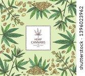 background with hemp  cannabis...   Shutterstock .eps vector #1396023962