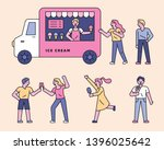 people are eating ice cream... | Shutterstock .eps vector #1396025642
