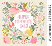 Stock vector beautiful greeting card happy mother s day bright illustration can be used as creating card 139606382