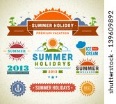 retro summer labels and signs.... | Shutterstock .eps vector #139609892