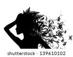 profile girl with flowers | Shutterstock .eps vector #139610102