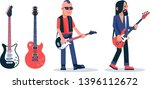 bass guitar player in dark... | Shutterstock .eps vector #1396112672
