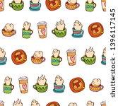 coffee cup. tea mug. seamless... | Shutterstock .eps vector #1396117145
