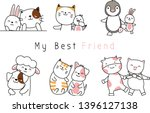 cute baby animal cartoon hand... | Shutterstock .eps vector #1396127138