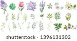 set collection green leaves and ... | Shutterstock .eps vector #1396131302