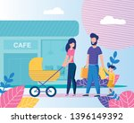 happy family going to cafe... | Shutterstock .eps vector #1396149392
