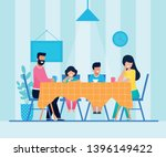happy cartoon family having... | Shutterstock .eps vector #1396149422