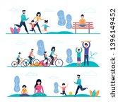 family sport and outside... | Shutterstock .eps vector #1396149452