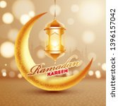 golden crescent moon with... | Shutterstock .eps vector #1396157042