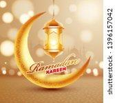 golden crescent moon with... | Shutterstock .eps vector #1396157042