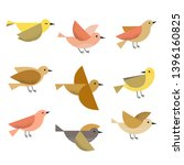 Stock vector set of cute different flying birds icons vector illustration 1396160825