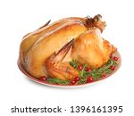platter of cooked turkey with...   Shutterstock . vector #1396161395