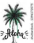 aloha hand lettering  hawaiian...   Shutterstock .eps vector #1396172075