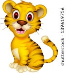 Stock vector cute baby tiger posing 139619756
