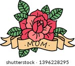 old school rose tattoo with... | Shutterstock .eps vector #1396228295