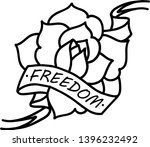 old school rose tattoo with... | Shutterstock .eps vector #1396232492