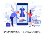 mobile shopping consept. a man... | Shutterstock . vector #1396239098