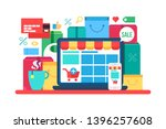 e commerce flat vector... | Shutterstock .eps vector #1396257608