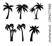 palm trees black silhouettes set | Shutterstock . vector #1396277888