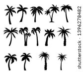 palm trees black silhouettes set | Shutterstock . vector #1396278482