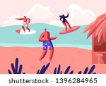 young surfers riding sea wave... | Shutterstock .eps vector #1396284965