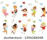 flat vector set of cartoon... | Shutterstock .eps vector #1396286048