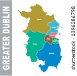 Colorful Greater Dublin Area administrative and political map