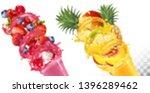 set of fruit juice splash in... | Shutterstock .eps vector #1396289462