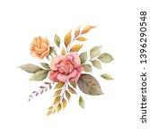 watercolor autumn arrangement... | Shutterstock . vector #1396290548