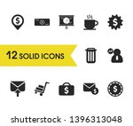 work icons set with cash ...