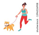 Stock vector a girl on a morning jog with her pet dog active lifestyle of a person with pets vector 1396326908