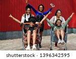 group of five african american... | Shutterstock . vector #1396342595