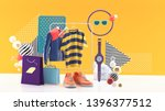 t shirts and jackets on square... | Shutterstock . vector #1396377512
