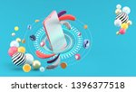 the smartphone is surrounded...   Shutterstock . vector #1396377518