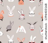 seamless pattern with rabbit... | Shutterstock .eps vector #1396403168
