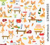 seamless pattern. cute dog... | Shutterstock .eps vector #1396440035