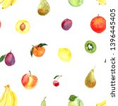 pattern of fruit painted with... | Shutterstock . vector #1396445405