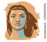 native american woman in... | Shutterstock .eps vector #1396453292
