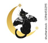 Black Winged Cat Sitting On The ...