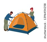 man and woman putting up a tent ... | Shutterstock .eps vector #1396454258