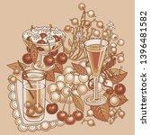 juice  berries  cherries hand... | Shutterstock .eps vector #1396481582
