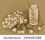 juice  berries  cherries hand... | Shutterstock .eps vector #1396481588
