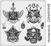 rock'n'roll music symbols ... | Shutterstock .eps vector #1396493948