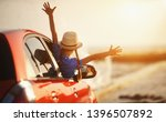 happy child girl goes to summer ... | Shutterstock . vector #1396507892