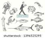 waiter in tuxedo carrying a ... | Shutterstock .eps vector #1396525295
