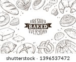 fresh bread around text banner... | Shutterstock .eps vector #1396537472