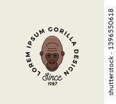 Line Style Gorilla Ape Or...