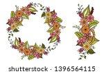 doodle floral garland  floral...   Shutterstock .eps vector #1396564115