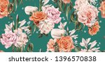 seamless floral pattern with... | Shutterstock . vector #1396570838