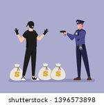 policeman caught a thief with... | Shutterstock .eps vector #1396573898